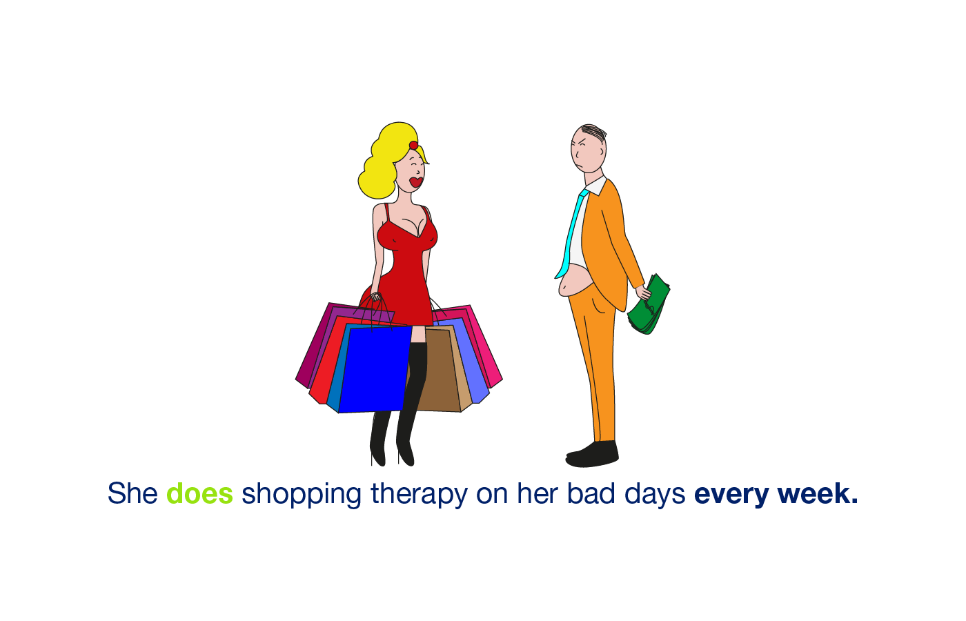 she goes shopping every week. Present simple illustrated.